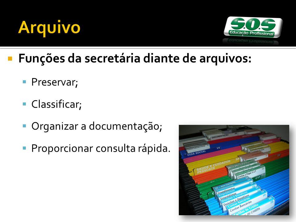 Arquivo Funções da secretária diante de arquivos: Preservar; Classificar; Organizar a documentação; Proporcionar consulta rápida.