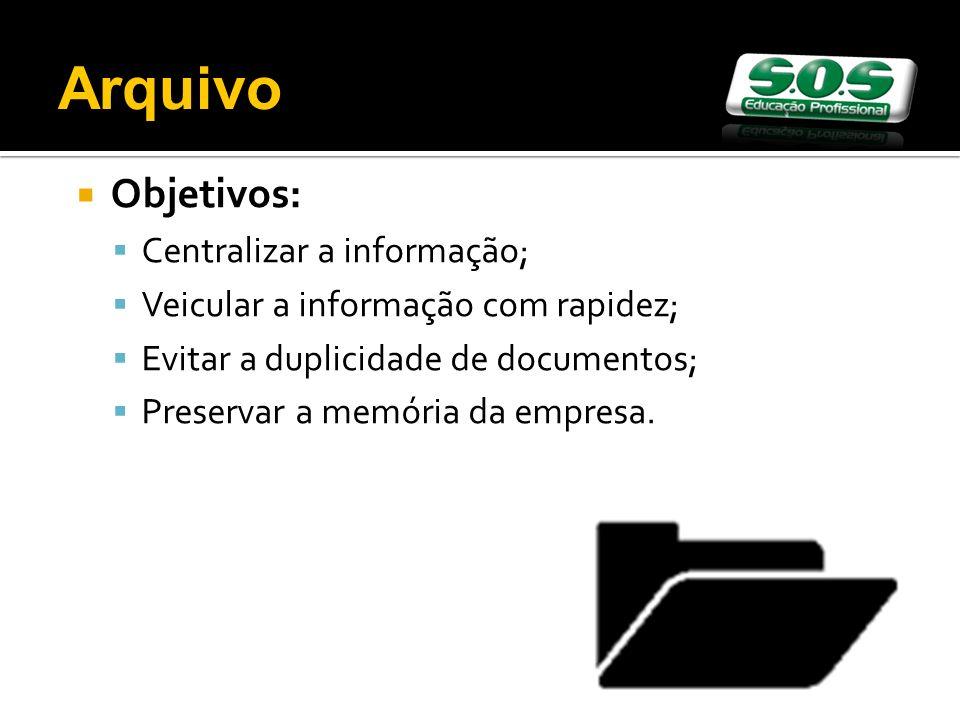 Objetivos: Centralizar a informação; Veicular a informação com rapidez; Evitar a duplicidade de documentos; Preservar a memória da empresa. Arquivo