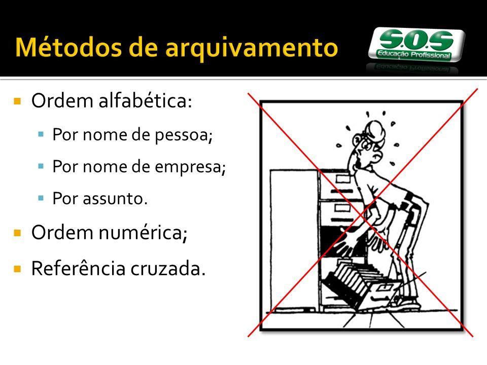 Métodos de arquivamento Ordem alfabética: Por nome de pessoa; Por nome de empresa; Por assunto. Ordem numérica; Referência cruzada.