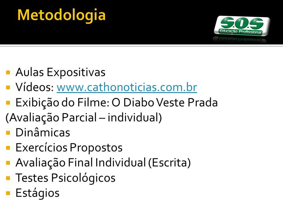 Aulas Expositivas Vídeos: www.cathonoticias.com.brwww.cathonoticias.com.br Exibição do Filme: O Diabo Veste Prada (Avaliação Parcial – individual) Din