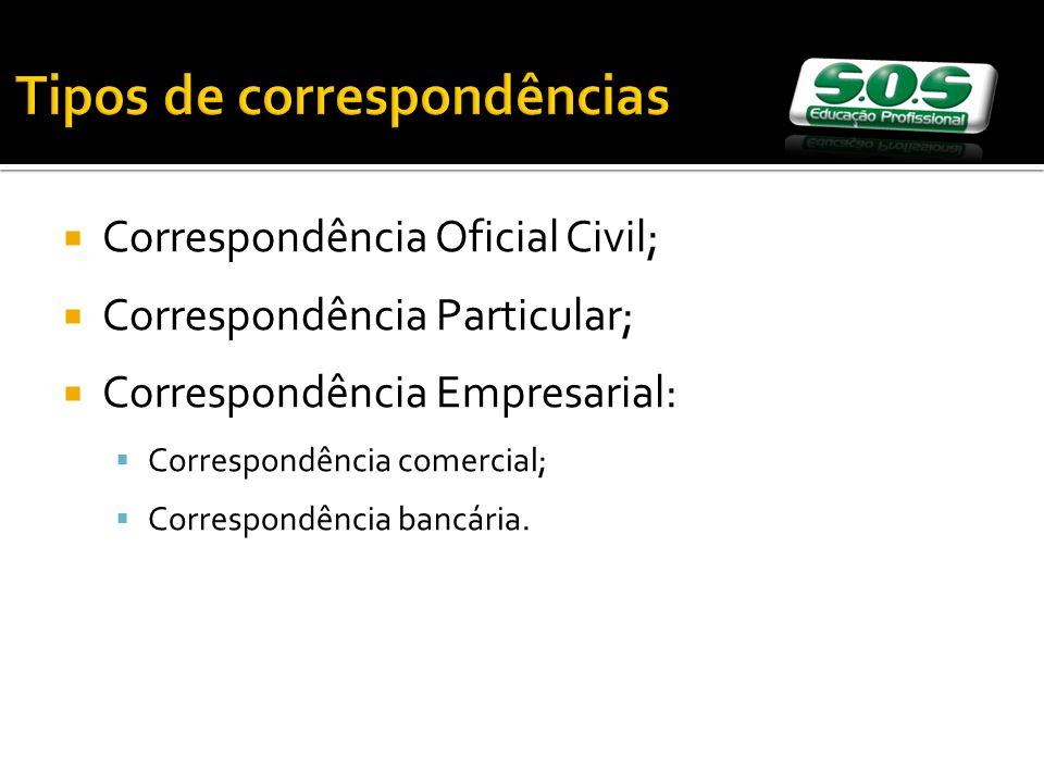 Tipos de correspondências Correspondência Oficial Civil; Correspondência Particular; Correspondência Empresarial: Correspondência comercial; Correspondência bancária.