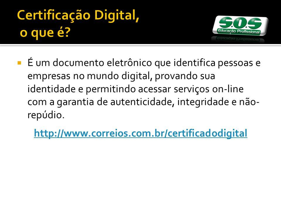 Certificação Digital, o que é? É um documento eletrônico que identifica pessoas e empresas no mundo digital, provando sua identidade e permitindo aces