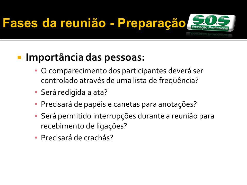 Importância das pessoas: O comparecimento dos participantes deverá ser controlado através de uma lista de freqüência.