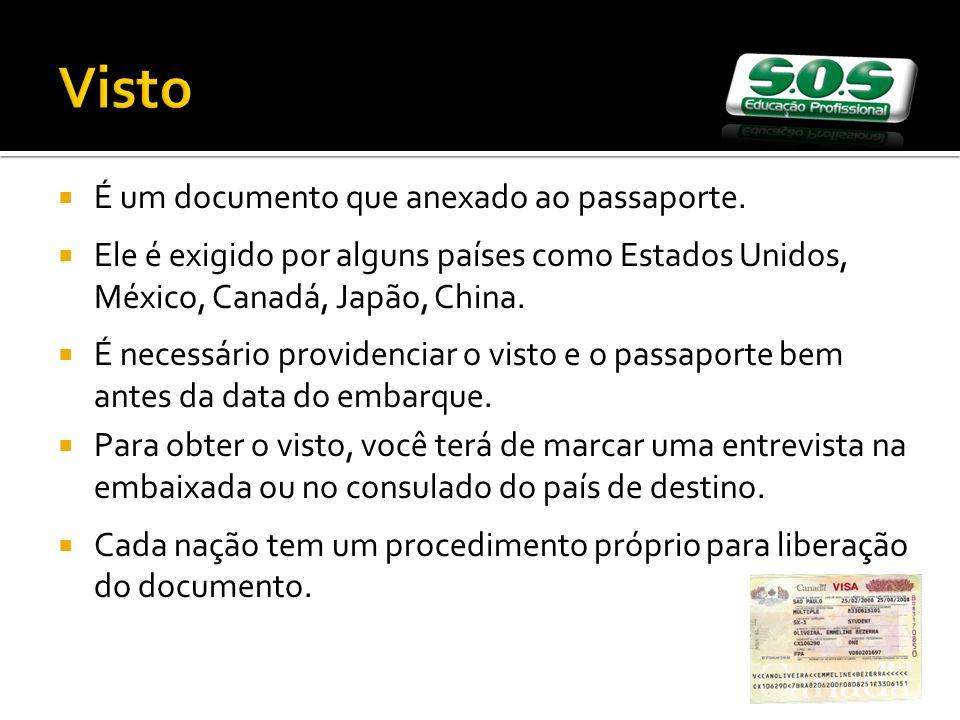 Visto É um documento que anexado ao passaporte. Ele é exigido por alguns países como Estados Unidos, México, Canadá, Japão, China. É necessário provid