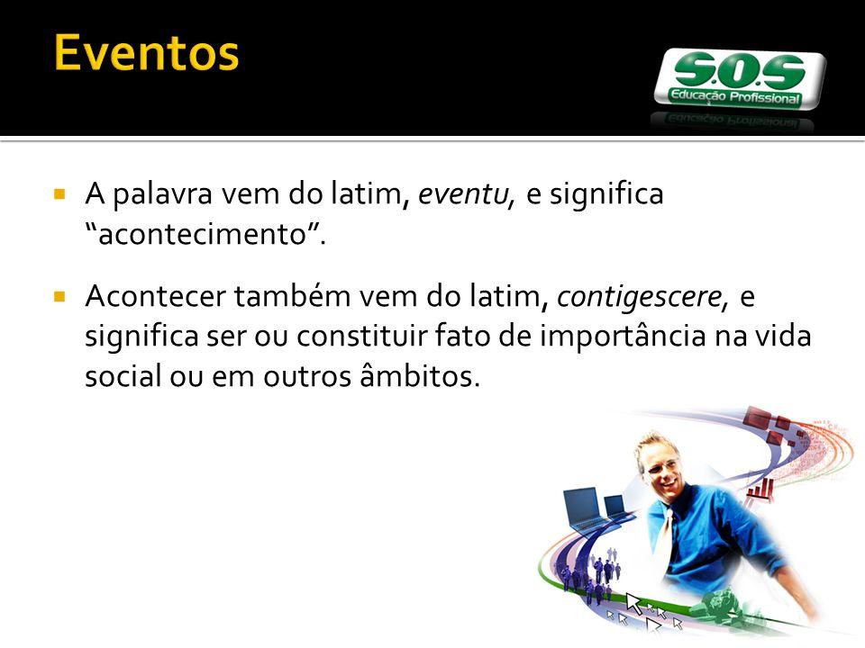 Eventos A palavra vem do latim, eventu, e significa acontecimento.
