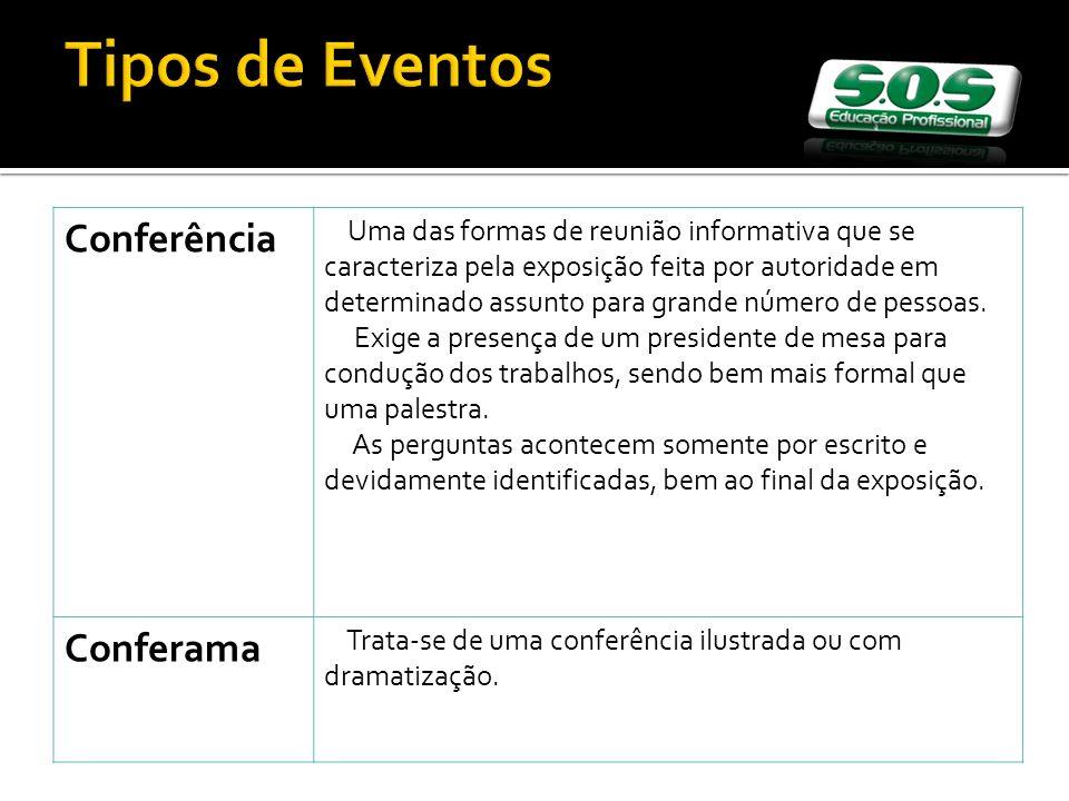 Tipos de Eventos Conferência Uma das formas de reunião informativa que se caracteriza pela exposição feita por autoridade em determinado assunto para