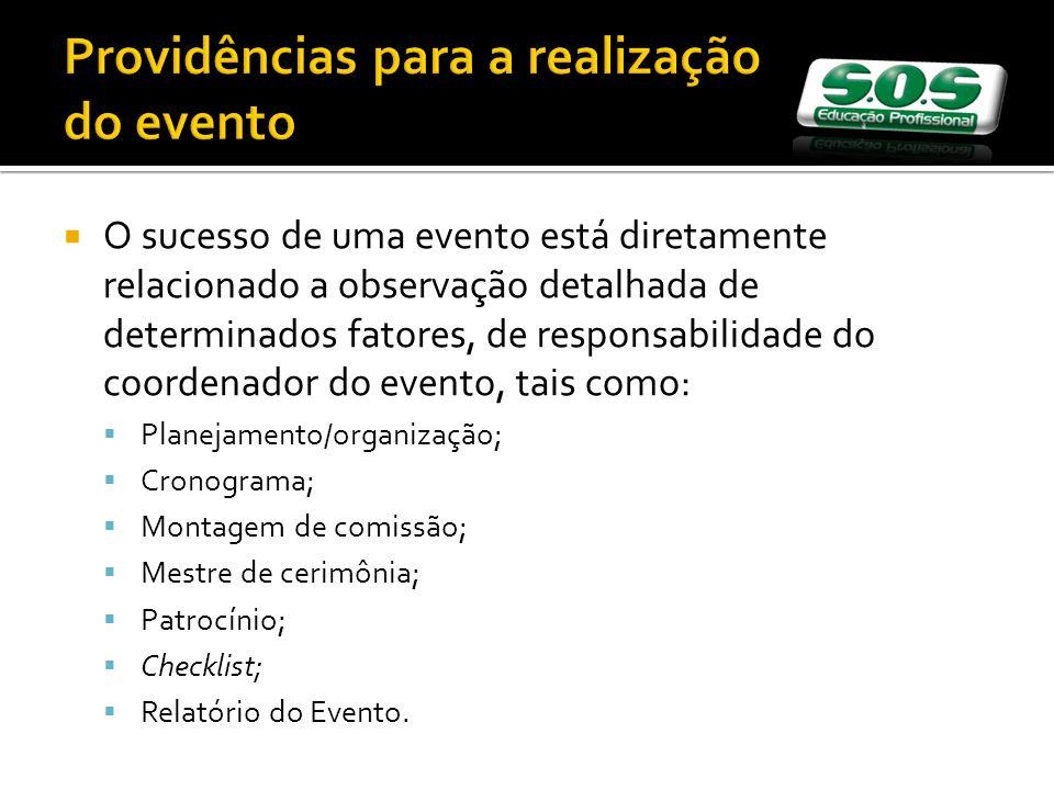 Providências para a realização do evento O sucesso de uma evento está diretamente relacionado a observação detalhada de determinados fatores, de respo