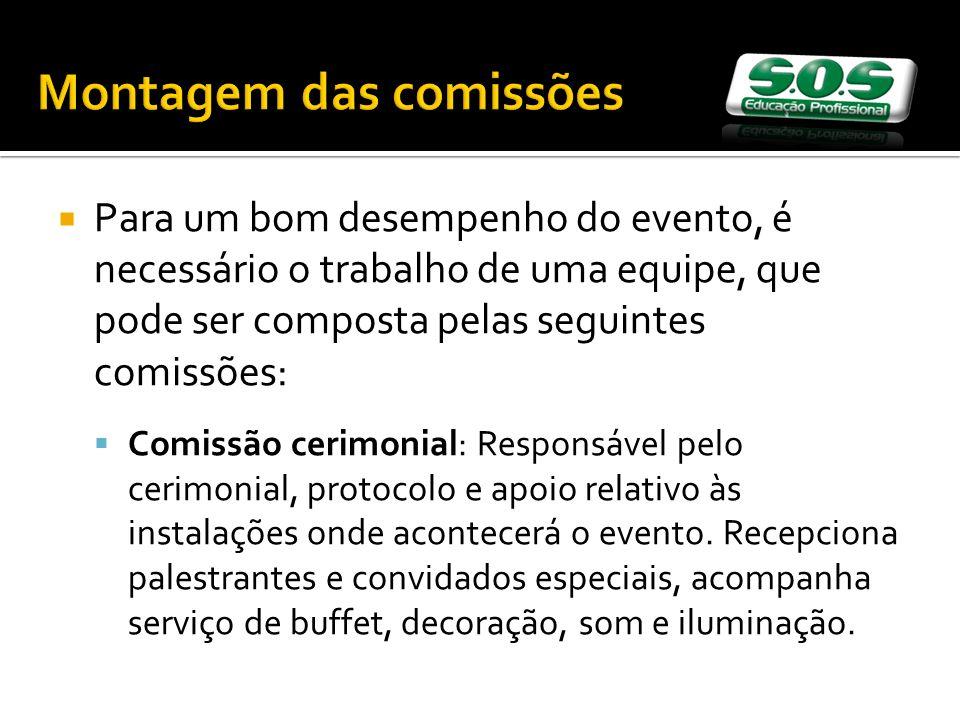 Montagem das comissões Para um bom desempenho do evento, é necessário o trabalho de uma equipe, que pode ser composta pelas seguintes comissões: Comis