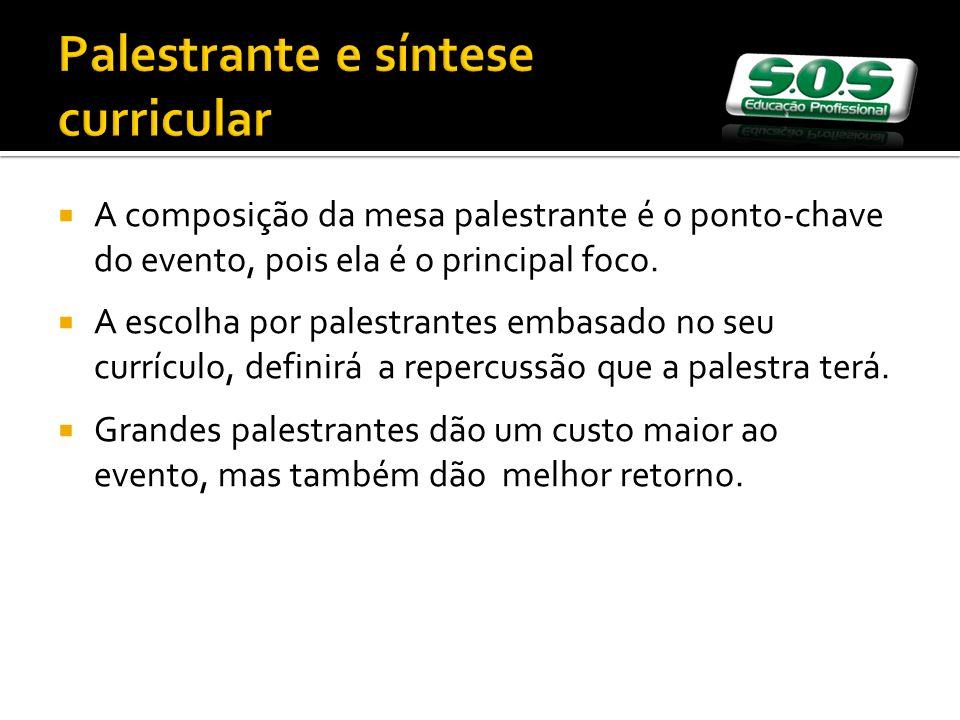 Palestrante e síntese curricular A composição da mesa palestrante é o ponto-chave do evento, pois ela é o principal foco.
