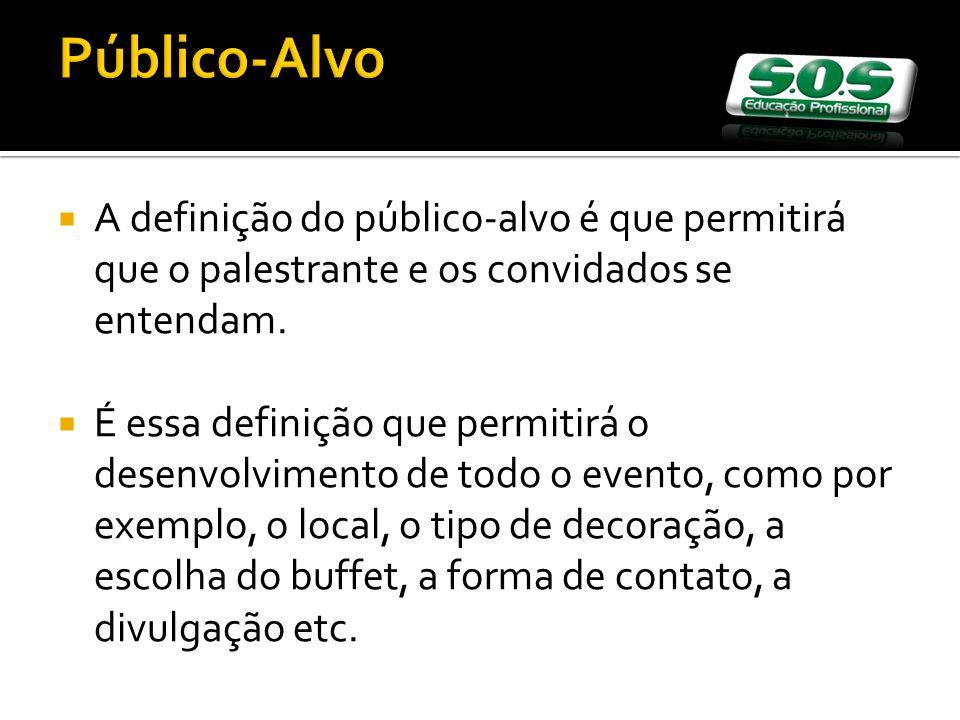 Público-Alvo A definição do público-alvo é que permitirá que o palestrante e os convidados se entendam. É essa definição que permitirá o desenvolvimen
