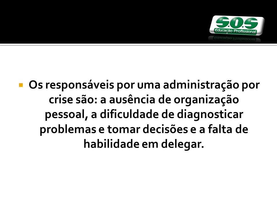 Os responsáveis por uma administração por crise são: a ausência de organização pessoal, a dificuldade de diagnosticar problemas e tomar decisões e a f
