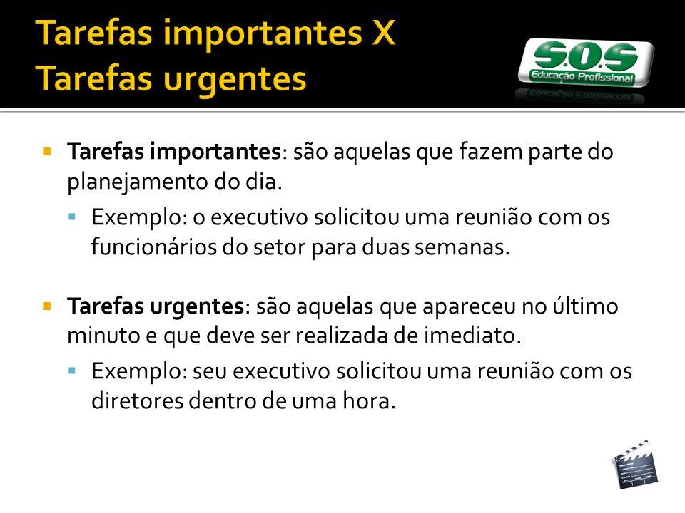 Tarefas importantes X Tarefas urgentes Tarefas importantes: são aquelas que fazem parte do planejamento do dia. Exemplo: o executivo solicitou uma reu