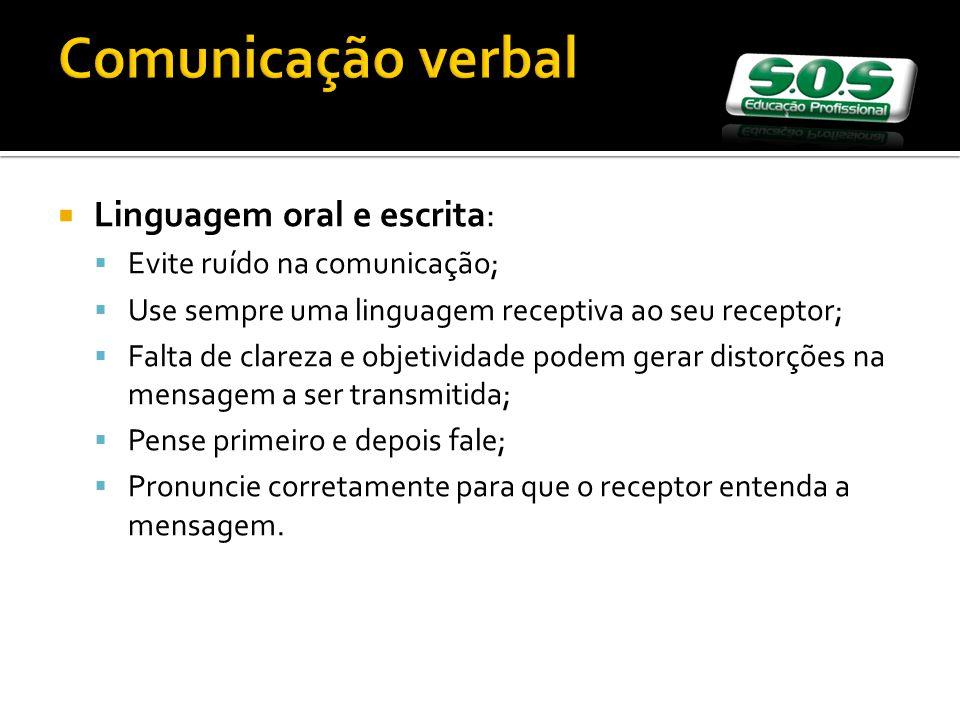 Comunicação verbal Linguagem oral e escrita: Evite ruído na comunicação; Use sempre uma linguagem receptiva ao seu receptor; Falta de clareza e objeti