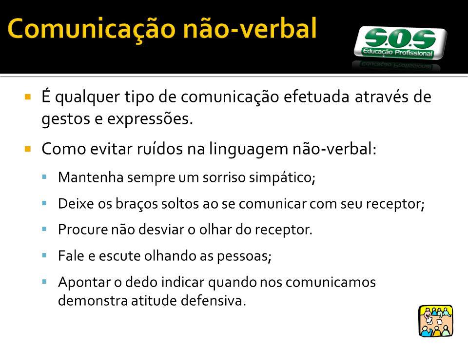 Comunicação não-verbal É qualquer tipo de comunicação efetuada através de gestos e expressões. Como evitar ruídos na linguagem não-verbal: Mantenha se