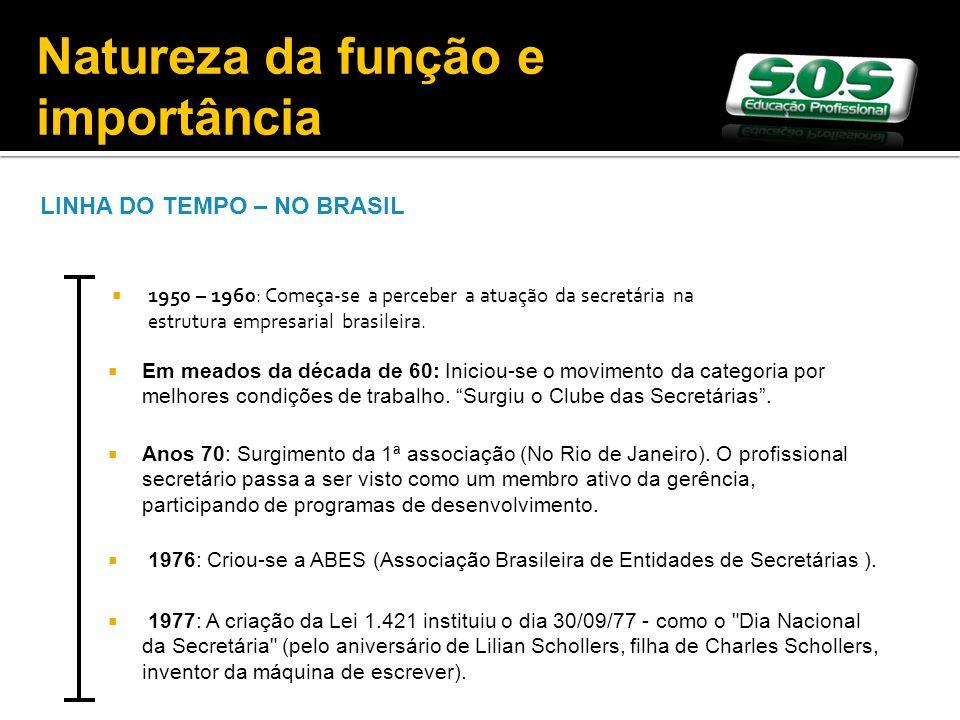1950 – 1960: Começa-se a perceber a atuação da secretária na estrutura empresarial brasileira. LINHA DO TEMPO – NO BRASIL Em meados da década de 60: I