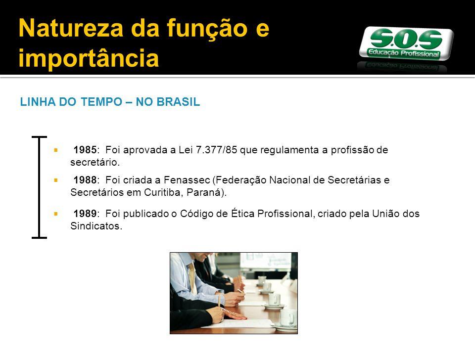 LINHA DO TEMPO – NO BRASIL 1985: Foi aprovada a Lei 7.377/85 que regulamenta a profissão de secretário. 1988: Foi criada a Fenassec (Federação Naciona