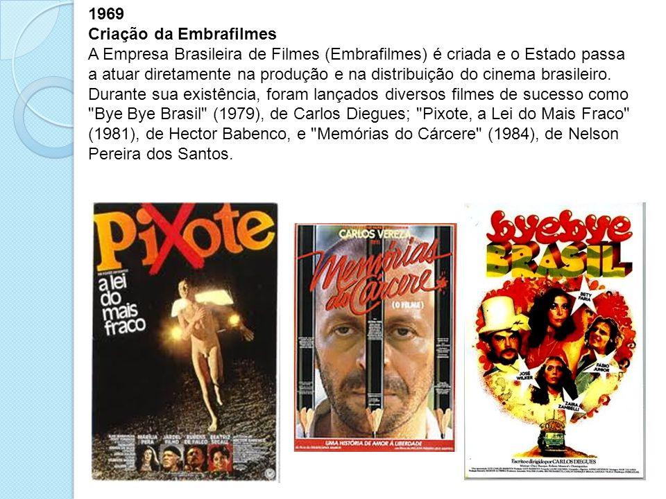 1969 Criação da Embrafilmes A Empresa Brasileira de Filmes (Embrafilmes) é criada e o Estado passa a atuar diretamente na produção e na distribuição d