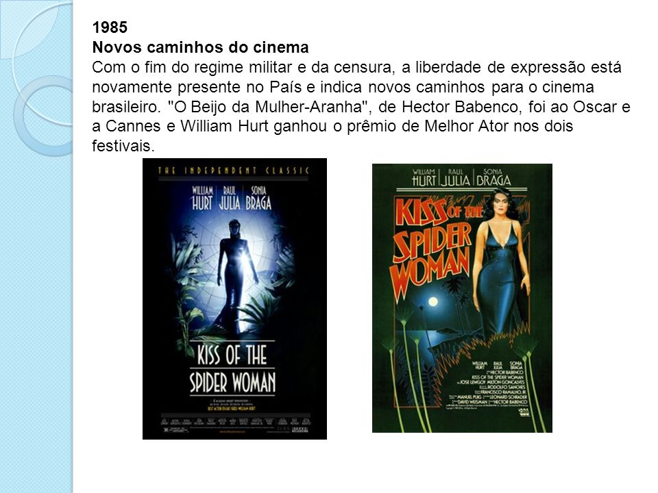 1985 Novos caminhos do cinema Com o fim do regime militar e da censura, a liberdade de expressão está novamente presente no País e indica novos caminh