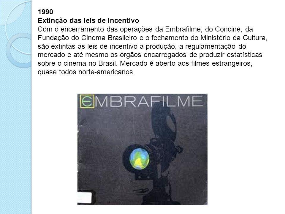 1990 Extinção das leis de incentivo Com o encerramento das operações da Embrafilme, do Concine, da Fundação do Cinema Brasileiro e o fechamento do Min