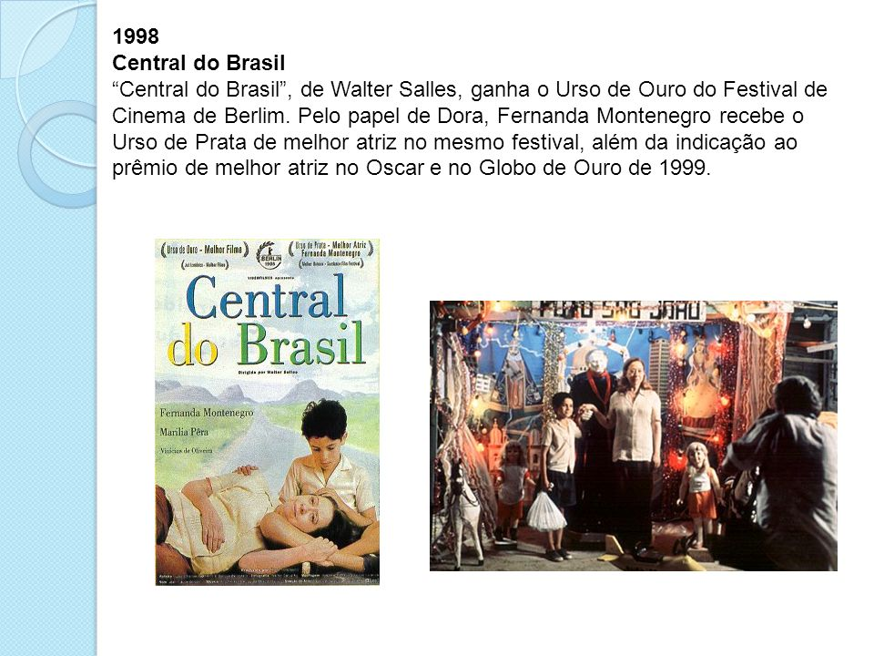 1998 Central do Brasil Central do Brasil, de Walter Salles, ganha o Urso de Ouro do Festival de Cinema de Berlim.