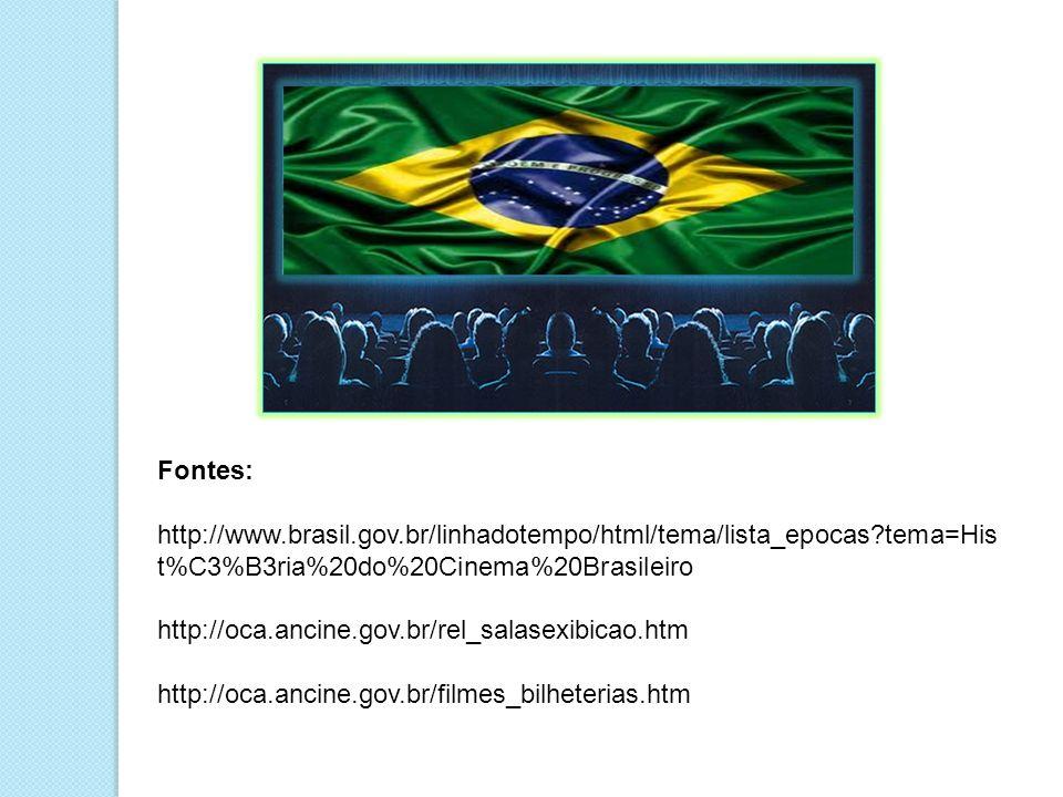 Fontes: http://www.brasil.gov.br/linhadotempo/html/tema/lista_epocas?tema=His t%C3%B3ria%20do%20Cinema%20Brasileiro http://oca.ancine.gov.br/rel_salas
