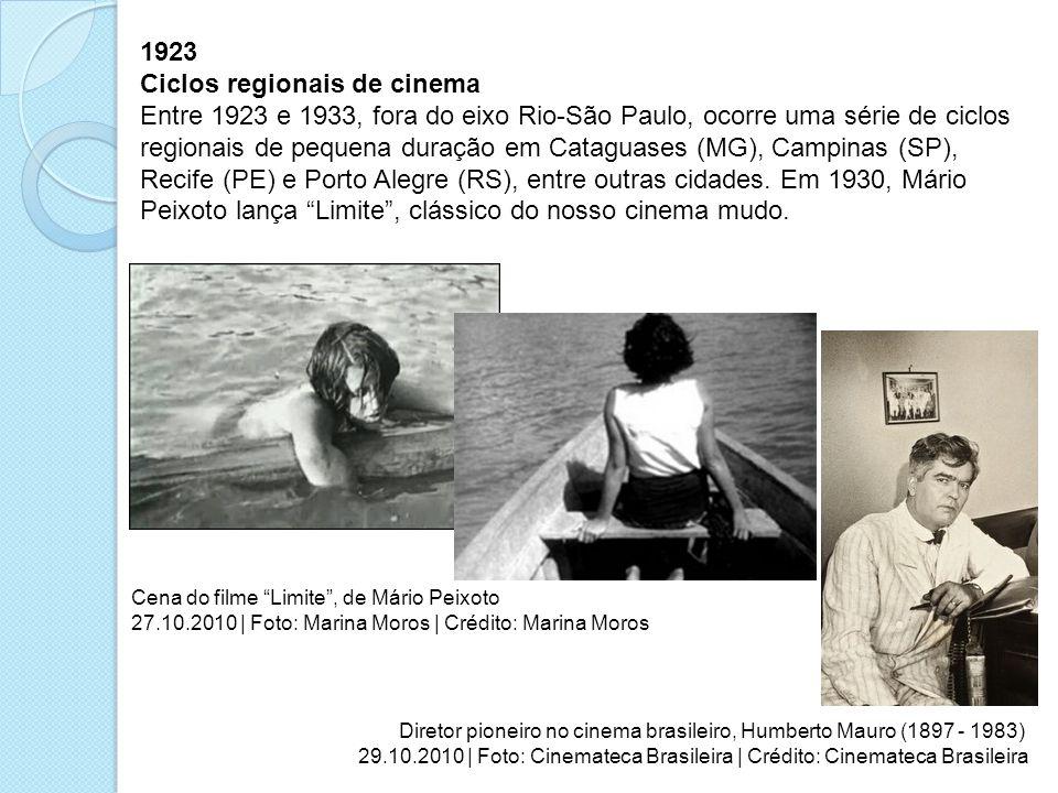 1923 Ciclos regionais de cinema Entre 1923 e 1933, fora do eixo Rio-São Paulo, ocorre uma série de ciclos regionais de pequena duração em Cataguases (