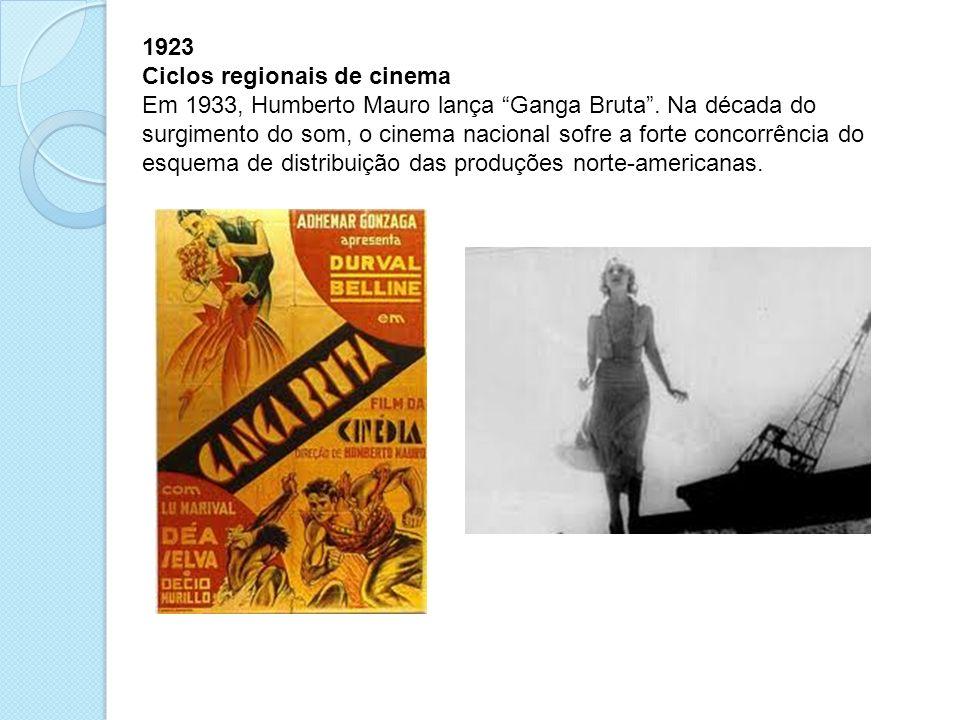 1923 Ciclos regionais de cinema Em 1933, Humberto Mauro lança Ganga Bruta. Na década do surgimento do som, o cinema nacional sofre a forte concorrênci