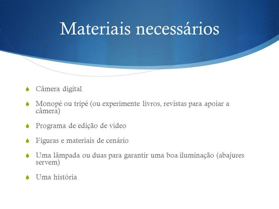 Materiais necessários Câmera digital Monopé ou tripé (ou experimente livros, revistas para apoiar a câmera) Programa de edição de vídeo Figuras e mate