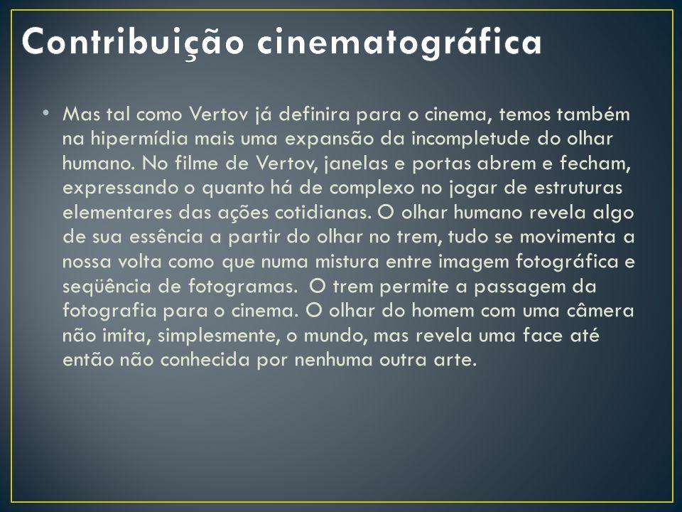Mas tal como Vertov já definira para o cinema, temos também na hipermídia mais uma expansão da incompletude do olhar humano. No filme de Vertov, janel