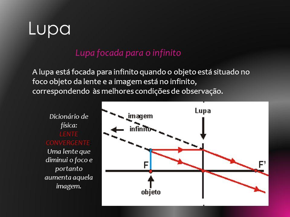 A lupa está focada para infinito quando o objeto está situado no foco objeto da lente e a imagem está no infinito, correspondendo às melhores condiçõe
