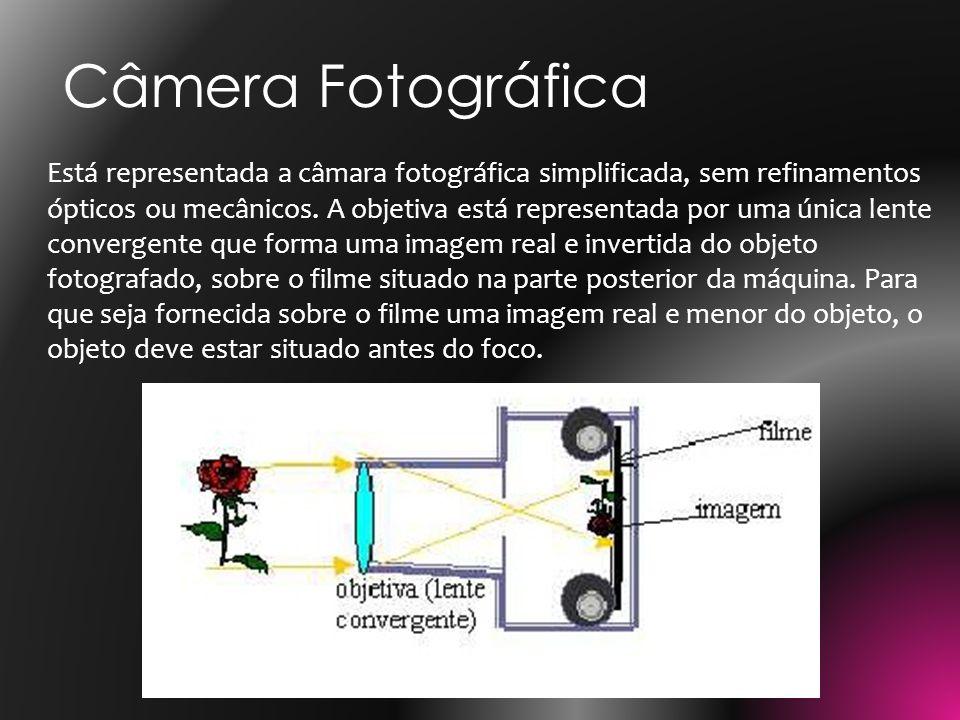 Está representada a câmara fotográfica simplificada, sem refinamentos ópticos ou mecânicos. A objetiva está representada por uma única lente convergen