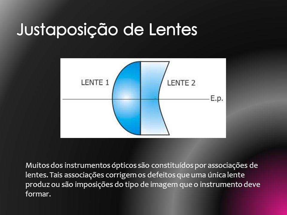 Pares de lentes com separação nula entre elas são lentes justapostas; esse tipo de lentes corrige a aberração cromática causada pela decomposição da luz branca (policromática) ao atravessar uma única lente.