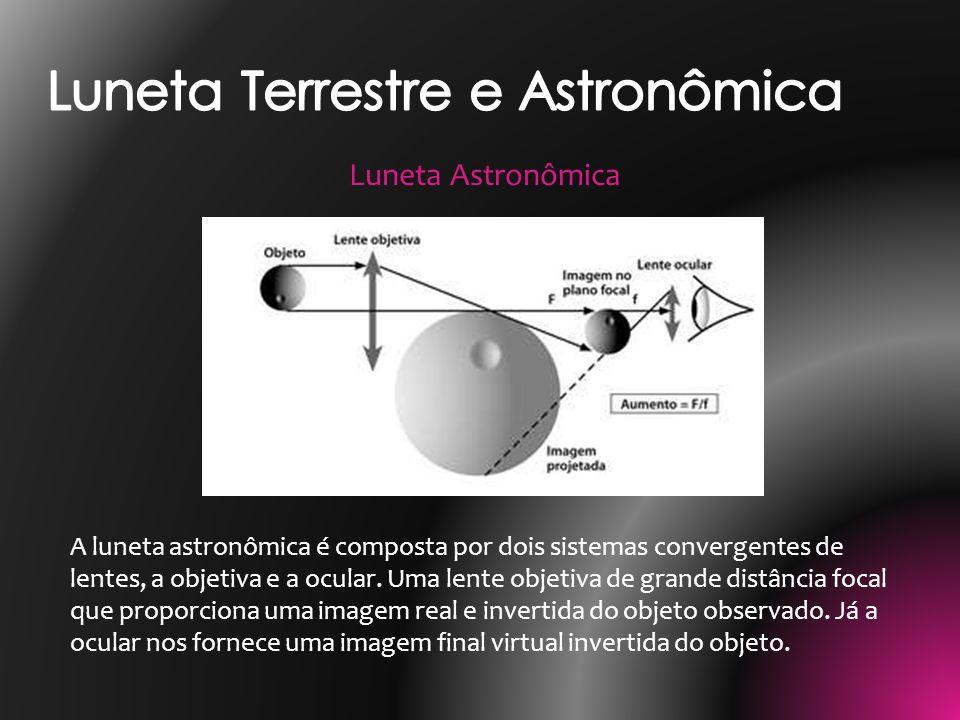 A luneta astronômica é composta por dois sistemas convergentes de lentes, a objetiva e a ocular. Uma lente objetiva de grande distância focal que prop
