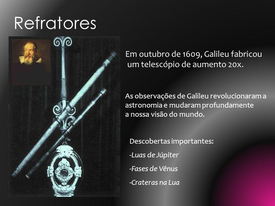 Em outubro de 1609, Galileu fabricou um telescópio de aumento 20x. As observações de Galileu revolucionaram a astronomia e mudaram profundamente a nos