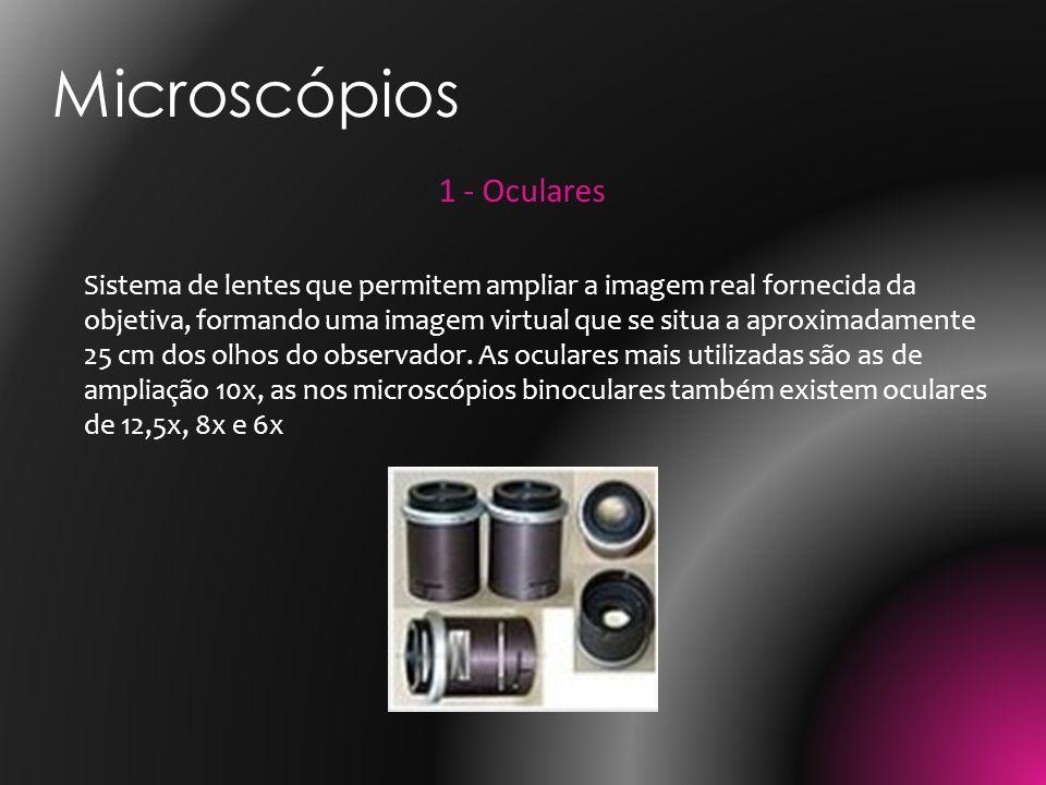 1 - Oculares Sistema de lentes que permitem ampliar a imagem real fornecida da objetiva, formando uma imagem virtual que se situa a aproximadamente 25