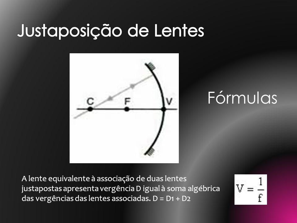 A lente equivalente à associação de duas lentes justapostas apresenta vergência D igual à soma algébrica das vergências das lentes associadas. D = D1