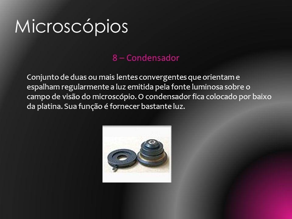 8 – Condensador Conjunto de duas ou mais lentes convergentes que orientam e espalham regularmente a luz emitida pela fonte luminosa sobre o campo de v