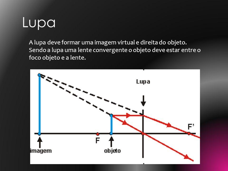 A lupa deve formar uma imagem virtual e direita do objeto. Sendo a lupa uma lente convergente o objeto deve estar entre o foco objeto e a lente. Lupa
