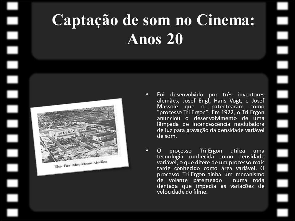 Captação de som no Cinema: Anos 30 Após o crash da bolsa em 1929 e do ataque da Grande Depressão, o desenvolvimento técnico teve poucas mudanças no começo dos anos trinta.