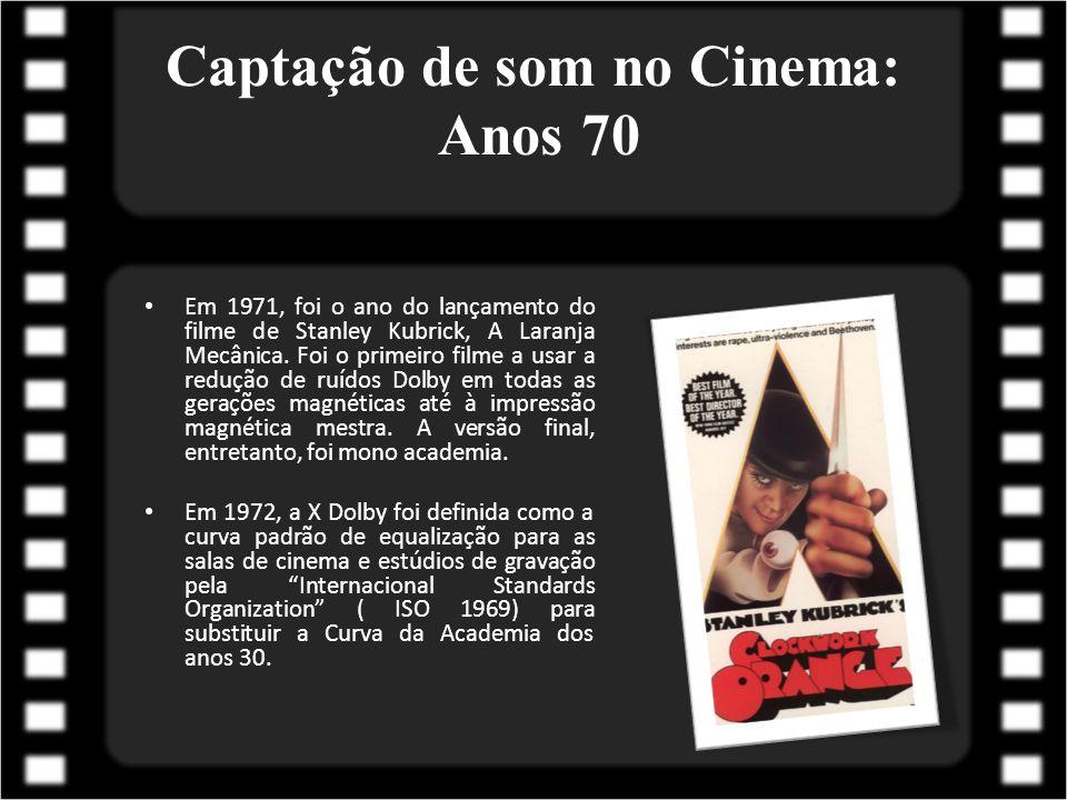 Captação de som no Cinema: Anos 70 Em 1971, foi o ano do lançamento do filme de Stanley Kubrick, A Laranja Mecânica. Foi o primeiro filme a usar a red