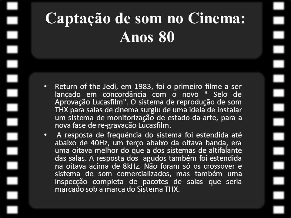 Captação de som no Cinema: Anos 90 Em 1990, a Kodak introduziu o Digital Cinema Sound (CDS) com a estreia de Dick Tracy; O sistema CDS foi utiliza uma tecnologia Delta Moduation de compressão de dados, com uma redução de 4:1.