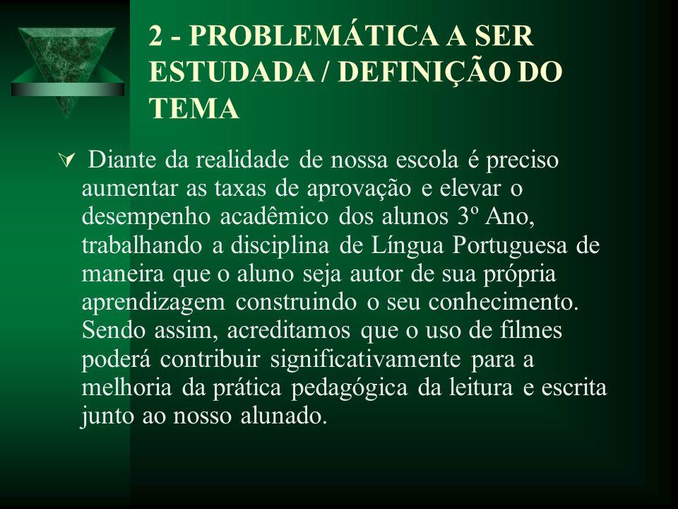 2 - PROBLEMÁTICA A SER ESTUDADA / DEFINIÇÃO DO TEMA Diante da realidade de nossa escola é preciso aumentar as taxas de aprovação e elevar o desempenho