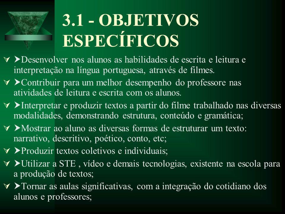 3.1 - OBJETIVOS ESPECÍFICOS Desenvolver nos alunos as habilidades de escrita e leitura e interpretação na língua portuguesa, através de filmes. Contri