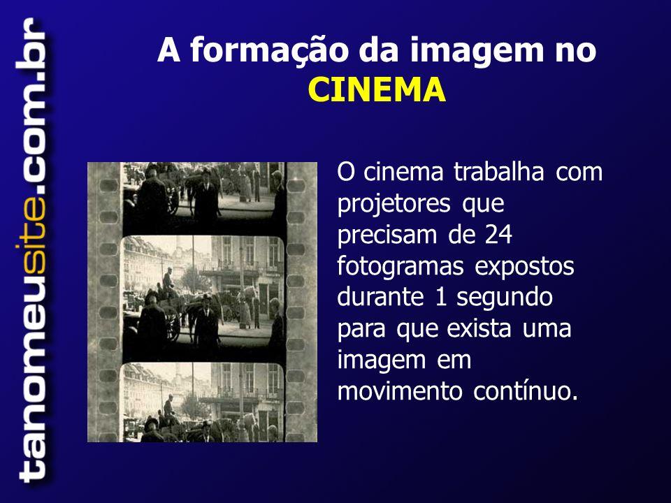 A formação da imagem no CINEMA O cinema trabalha com projetores que precisam de 24 fotogramas expostos durante 1 segundo para que exista uma imagem em movimento contínuo.