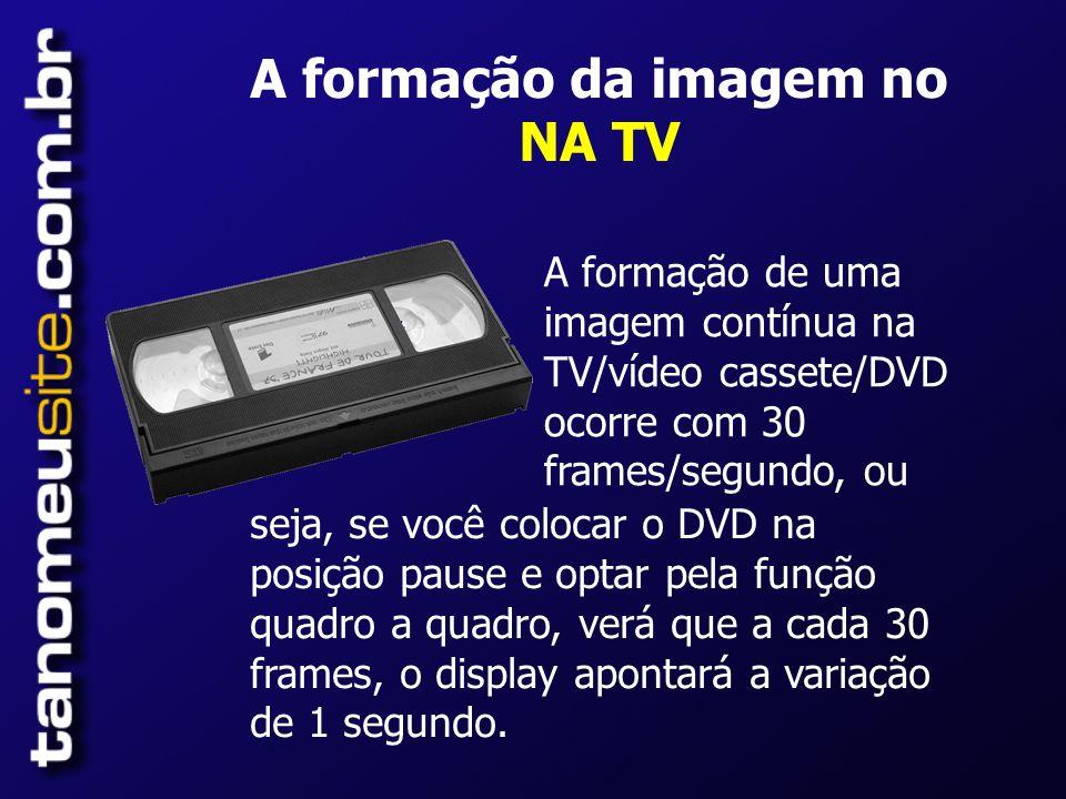 A formação da imagem no NA TV A formação de uma imagem contínua na TV/vídeo cassete/DVD ocorre com 30 frames/segundo, ou seja, se você colocar o DVD na posição pause e optar pela função quadro a quadro, verá que a cada 30 frames, o display apontará a variação de 1 segundo.
