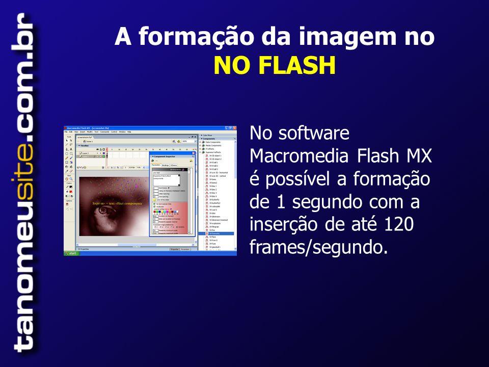 A formação da imagem no NO FLASH No software Macromedia Flash MX é possível a formação de 1 segundo com a inserção de até 120 frames/segundo.