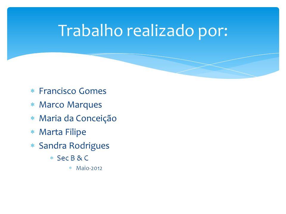 Francisco Gomes Marco Marques Maria da Conceição Marta Filipe Sandra Rodrigues Sec B & C Maio-2012 Trabalho realizado por: