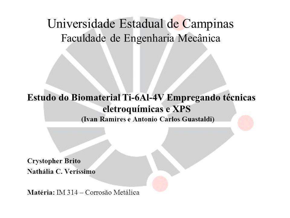 Universidade Estadual de Campinas Faculdade de Engenharia Mecânica Estudo do Biomaterial Ti-6Al-4V Empregando técnicas eletroquímicas e XPS (Ivan Rami