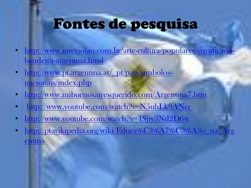 Fontes de pesquisa http://www.imeviolao.com.br/arte-cultura/populares/significado- bandeira-argentina.html http://www.imeviolao.com.br/arte-cultura/po