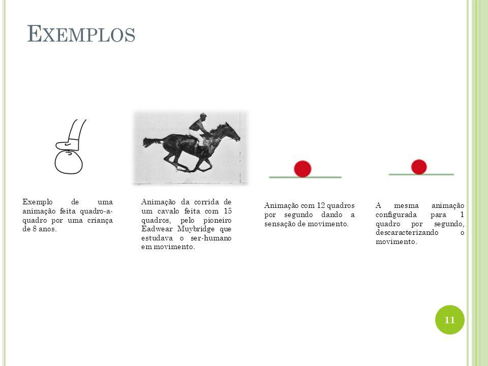 Exemplo de uma animação feita quadro-a- quadro por uma criança de 8 anos. Animação da corrida de um cavalo feita com 15 quadros, pelo pioneiro Eadwear